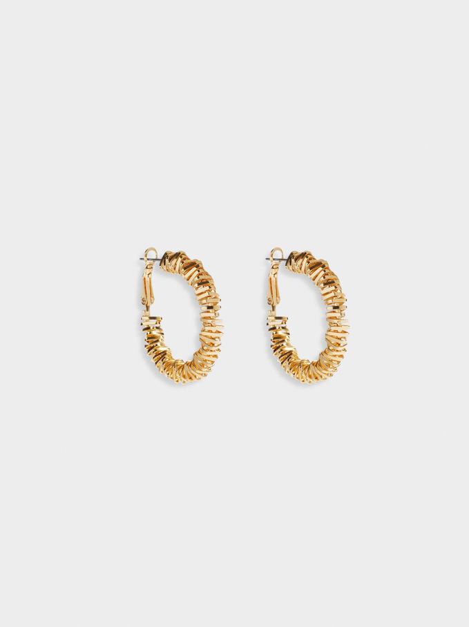 Golden Irregular Hoop Earrings, Golden, hi-res
