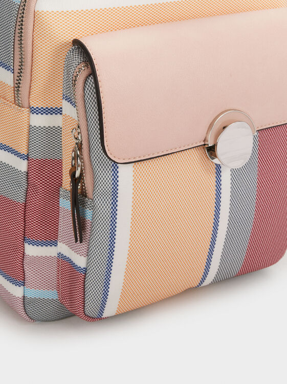 Striped Backpack, Pink, hi-res