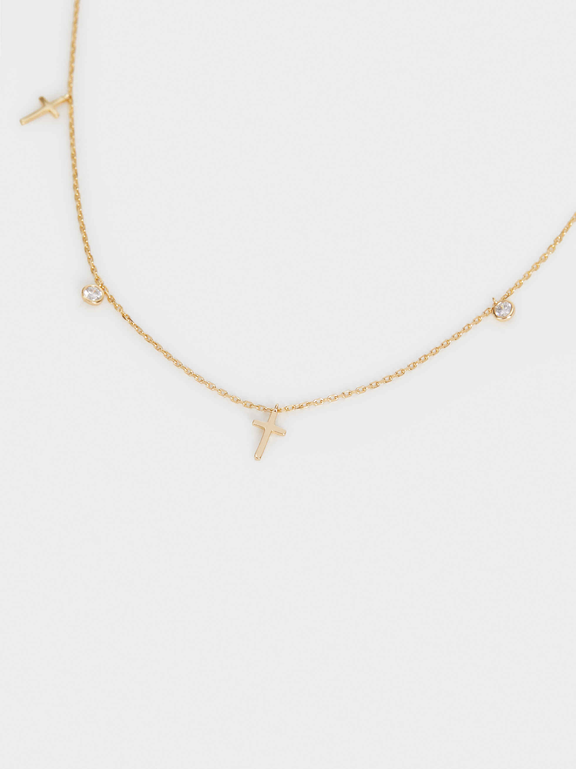 925 Sterling Silver Necklace, Golden, hi-res