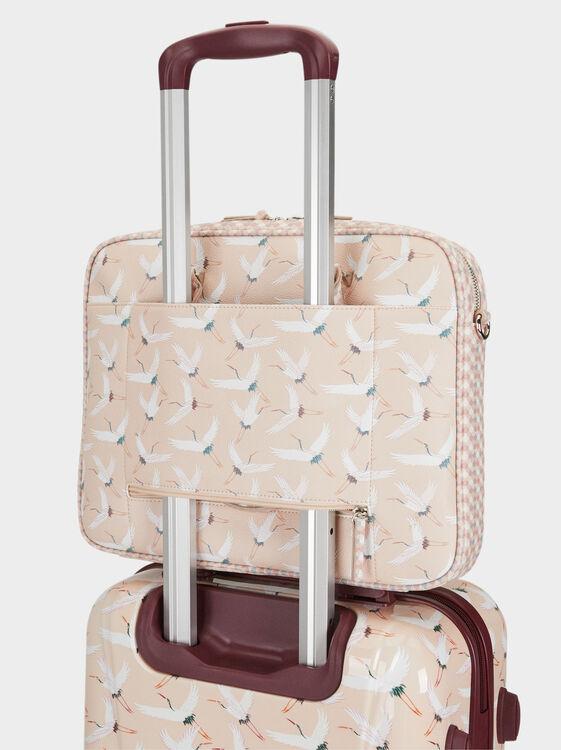 Stork Print Briefcase, Beige, hi-res