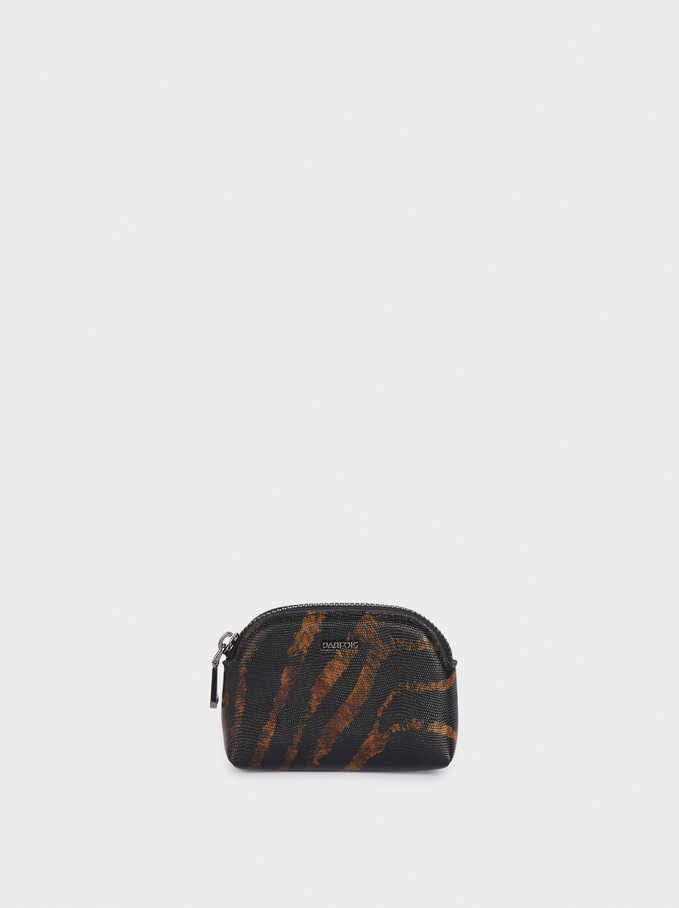 Animal Print Coin Purse, Black, hi-res