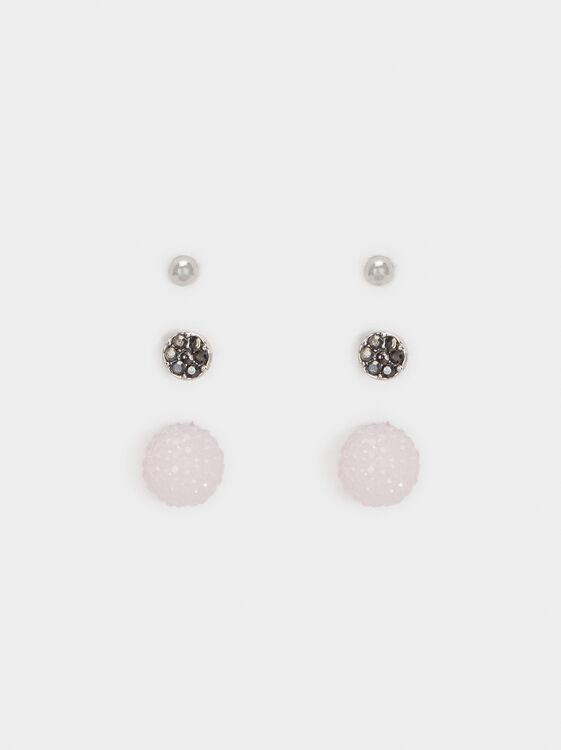 Cosmic Pink Set Of Earrings, Multicolor, hi-res