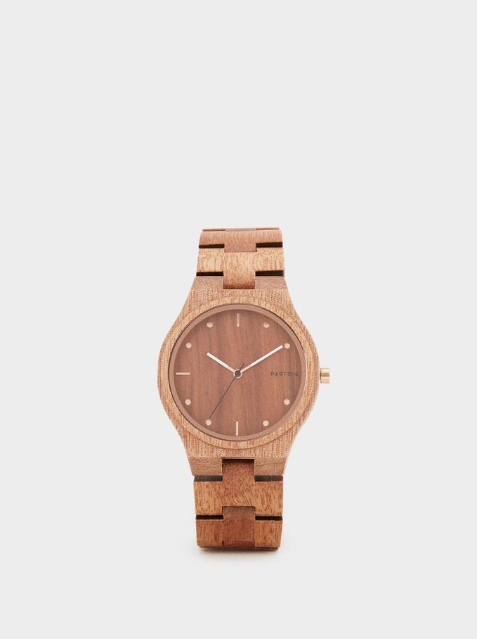 Wooden Watch, Brown, hi-res