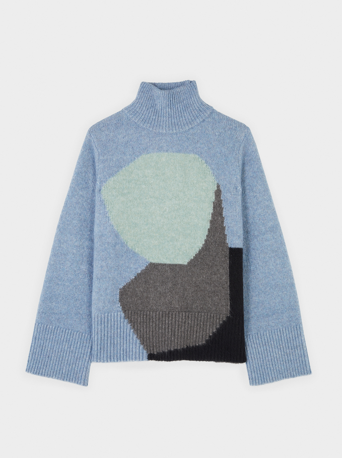 Knitted High Neck Sweater With Print, Blue, hi-res