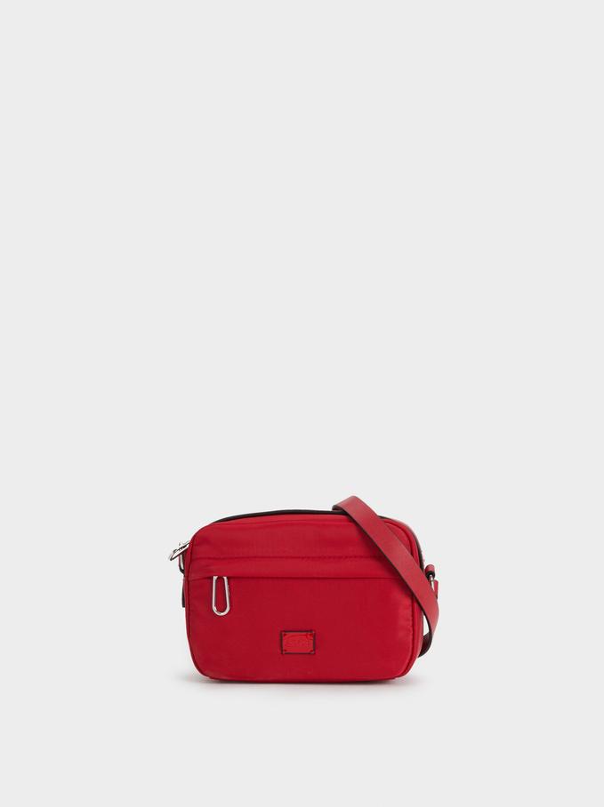 Nylon Crossbody Bag, Red, hi-res