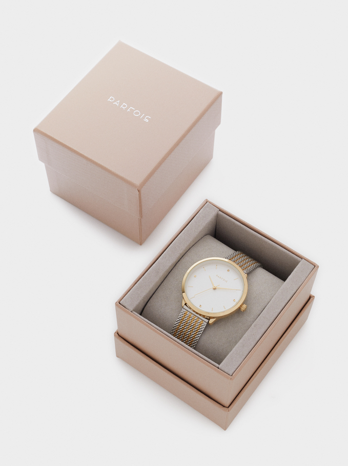 Watch With Two-Tone Metallic Mesh Strap, Golden, hi-res
