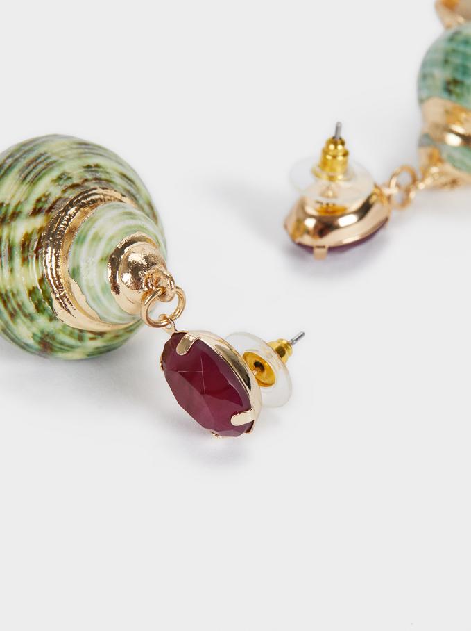 Sea Breeze Long Shell Earrings, Multicolor, hi-res
