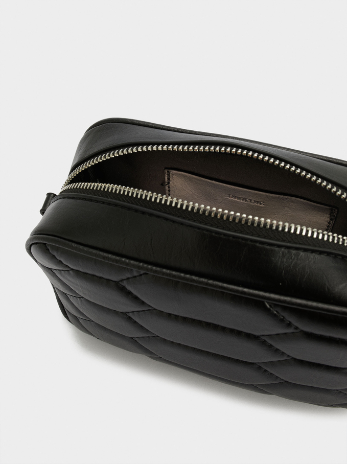 Crossbody Bag With Contrast Strap, Black, hi-res