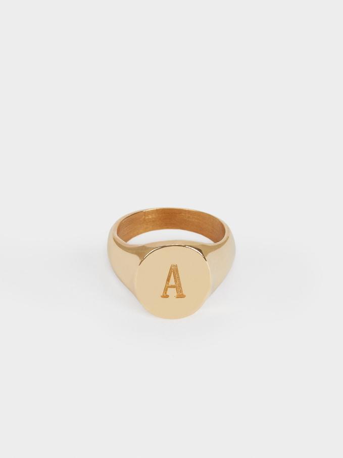 Pinky Finger Signet Ring Size M, Golden, hi-res