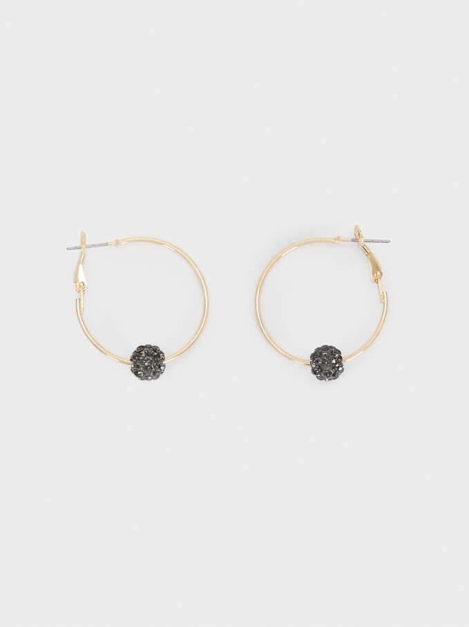 Small Crystal Hoop Earrings, Golden, hi-res