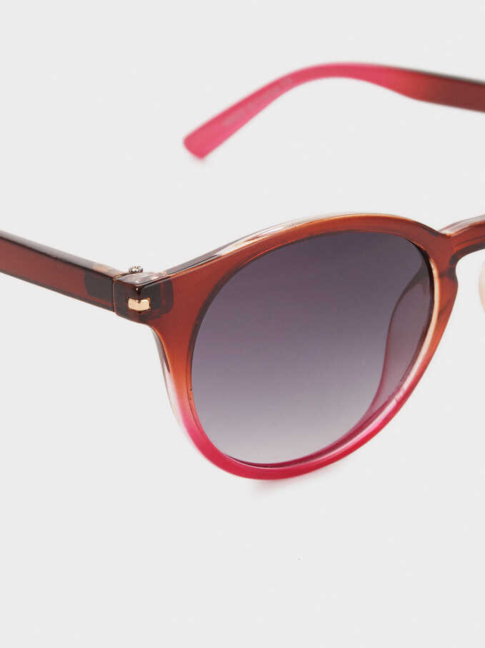 Round Plastic Frame Sunglasses, Brown, hi-res