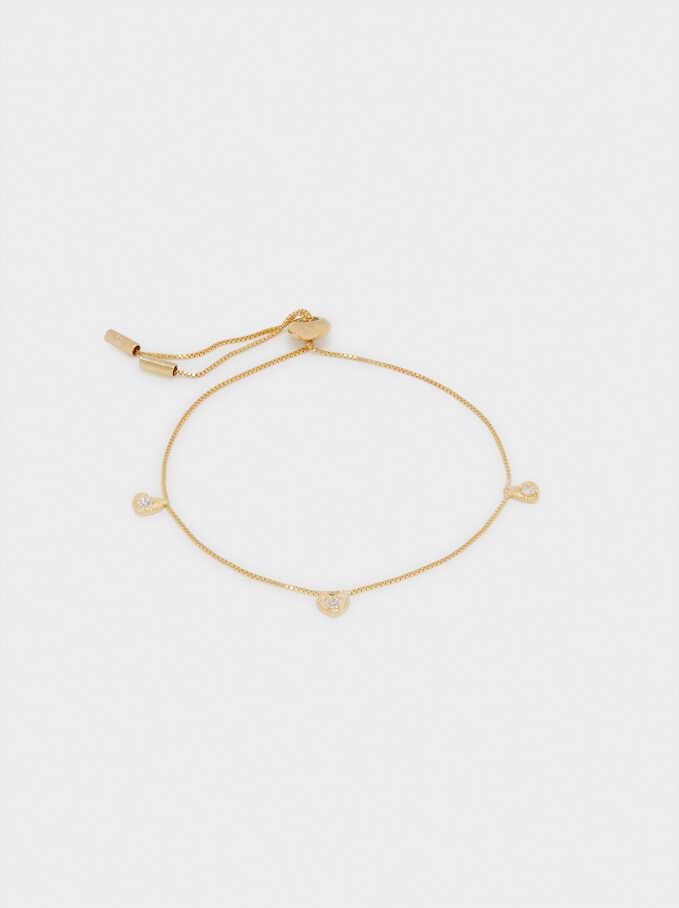 925 Silver Adjustable Hearts Bracelet, Golden, hi-res