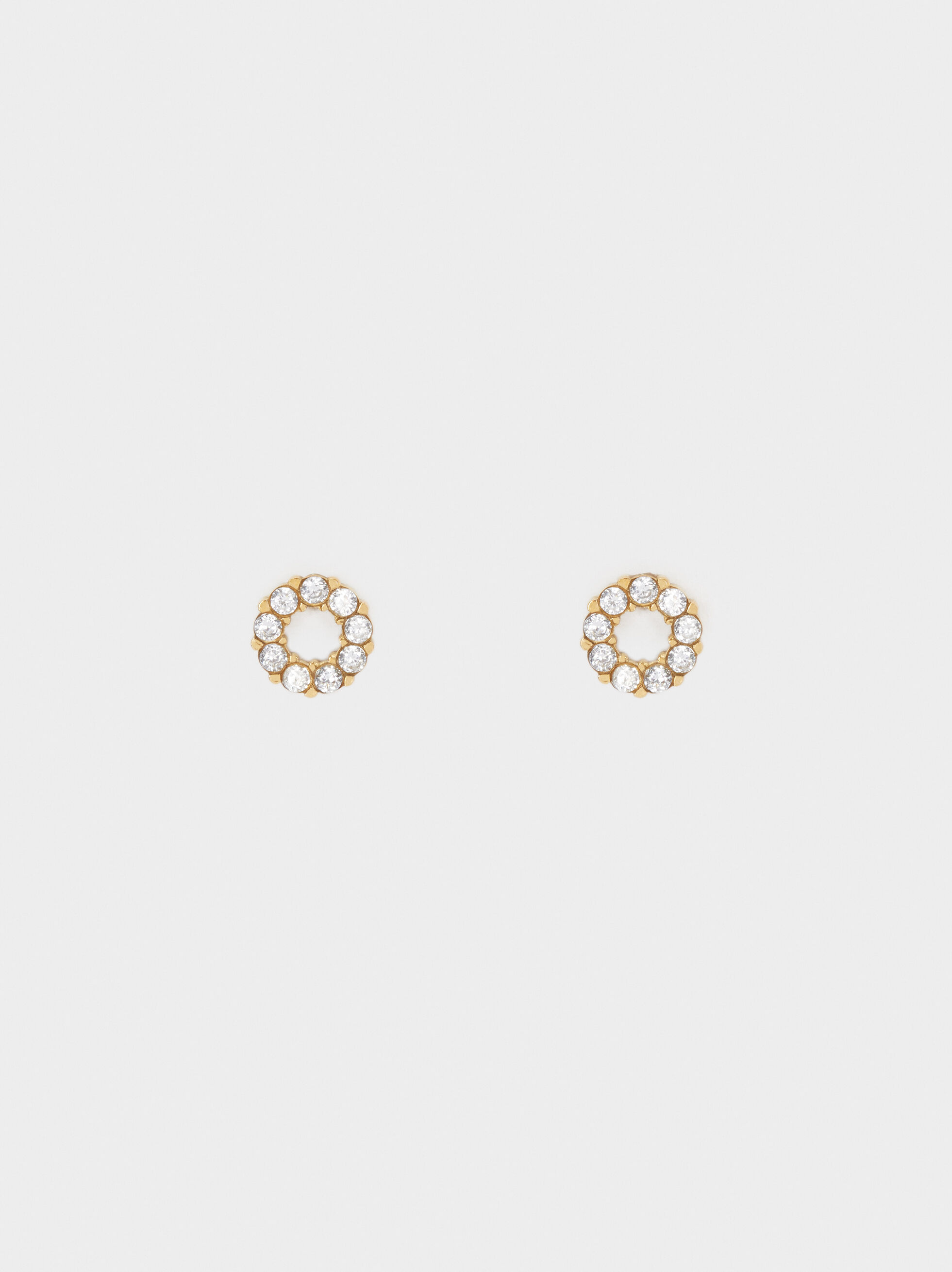 Short Gold Stainless Steel Earrings With Stones, , hi-res