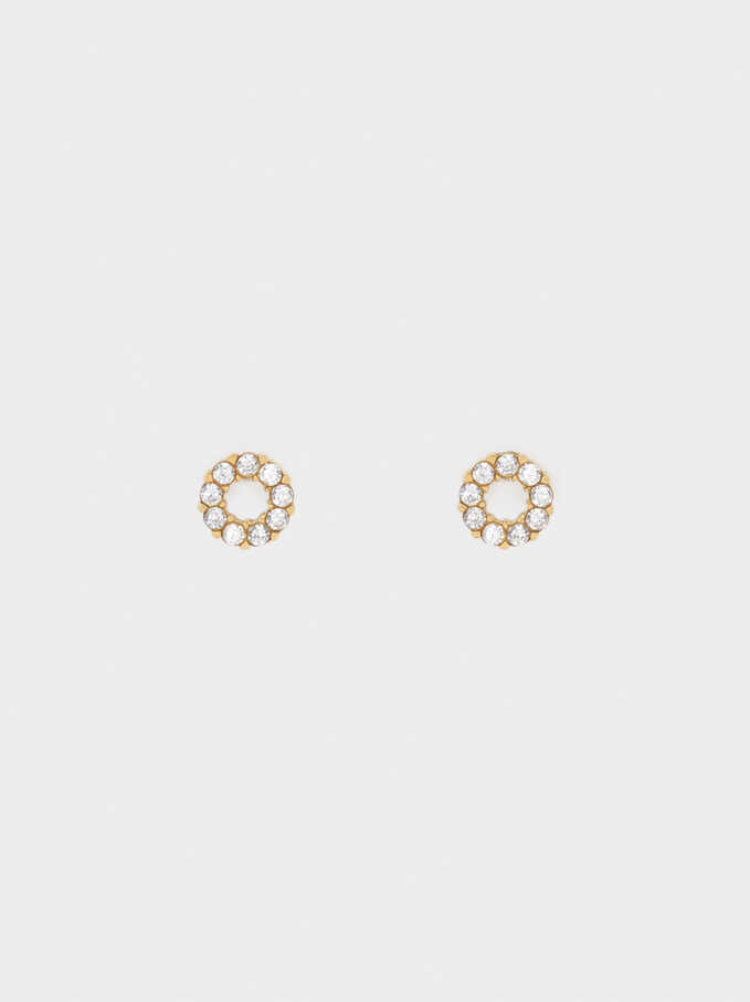 Short Gold Stainless Steel Earrings With Stones, Golden, hi-res