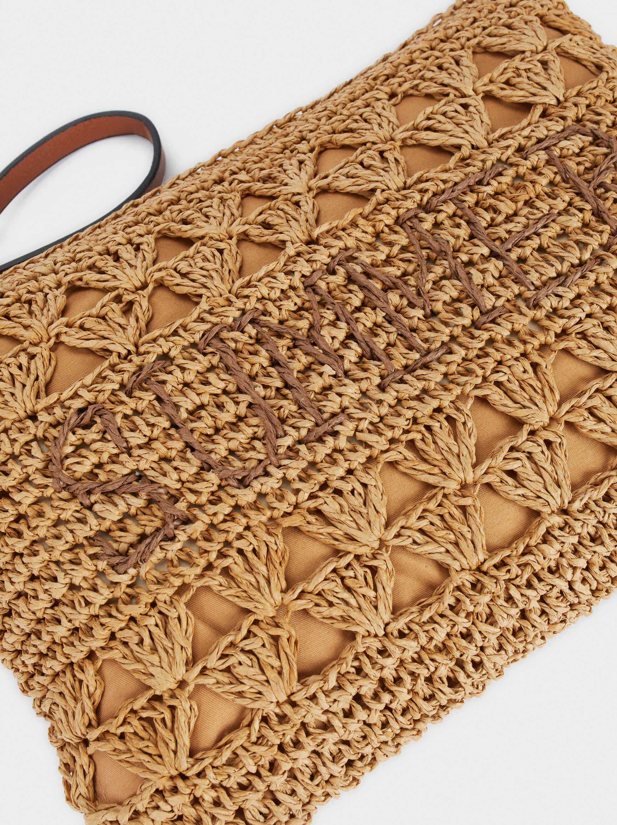Raffia Textured Clutch Bag, Beige, hi-res