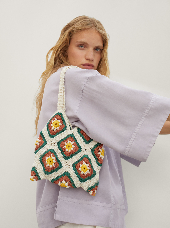 Braided Handbag, Ecru, hi-res