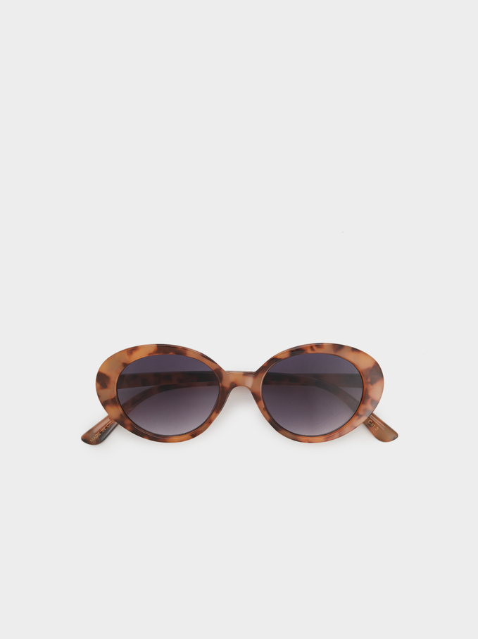 Tortoiseshell Oval Sunglasses, Brown, hi-res