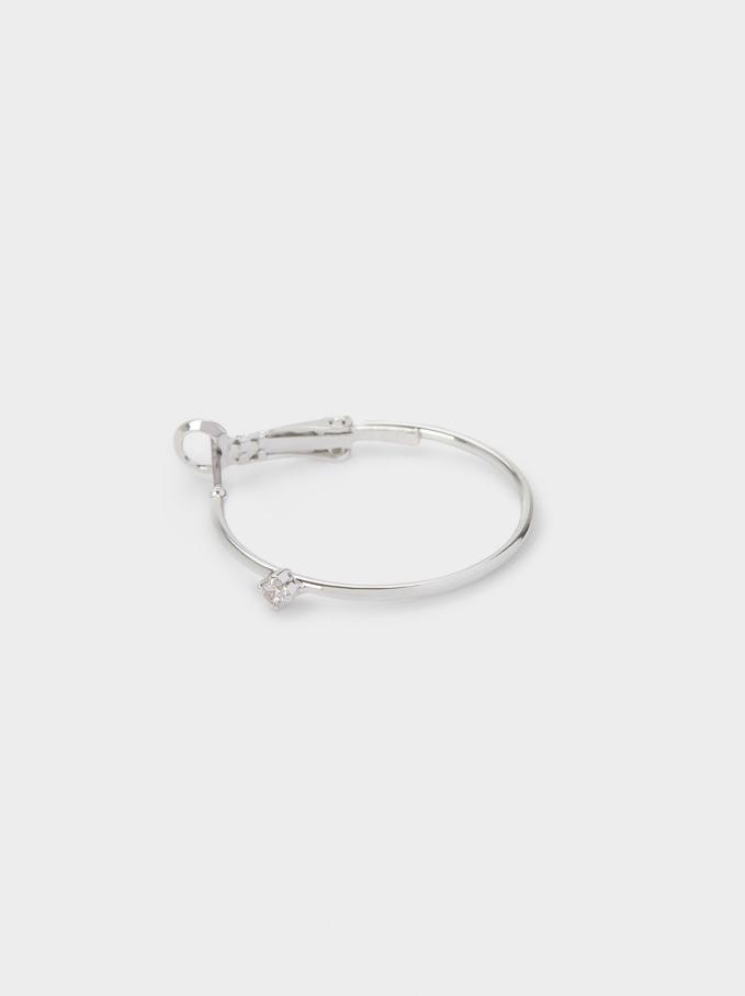 Hoop Earrings With Zirconia, Silver, hi-res