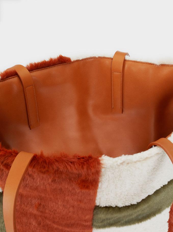 Shopper In Pelliccia Double Face, Avorio, hi-res
