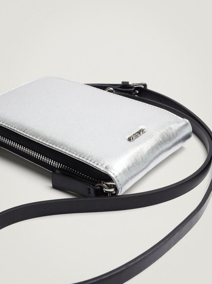 Metallic Nylon Mobile Phone Case, Silver, hi-res