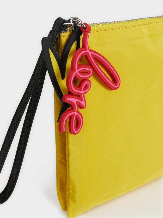 Plain 'Love' Toiletry Bag, Yellow, hi-res