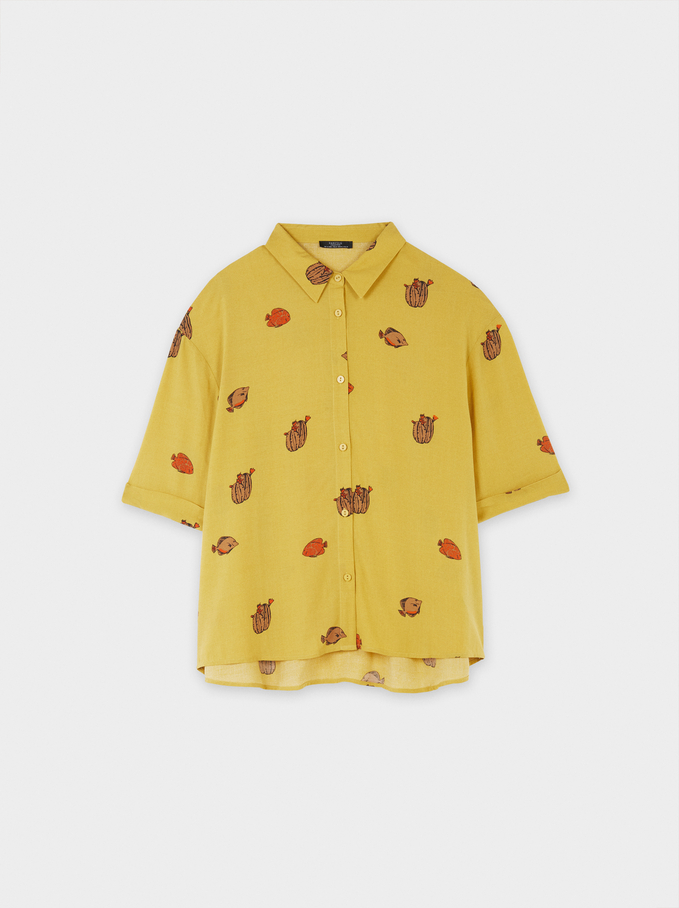 Printed Shirt With Pockets, Mustard, hi-res