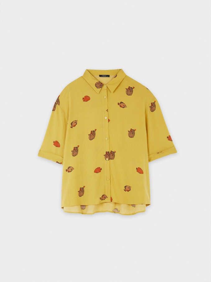 Printed Shirt With Pockets, Mustard, hi-res