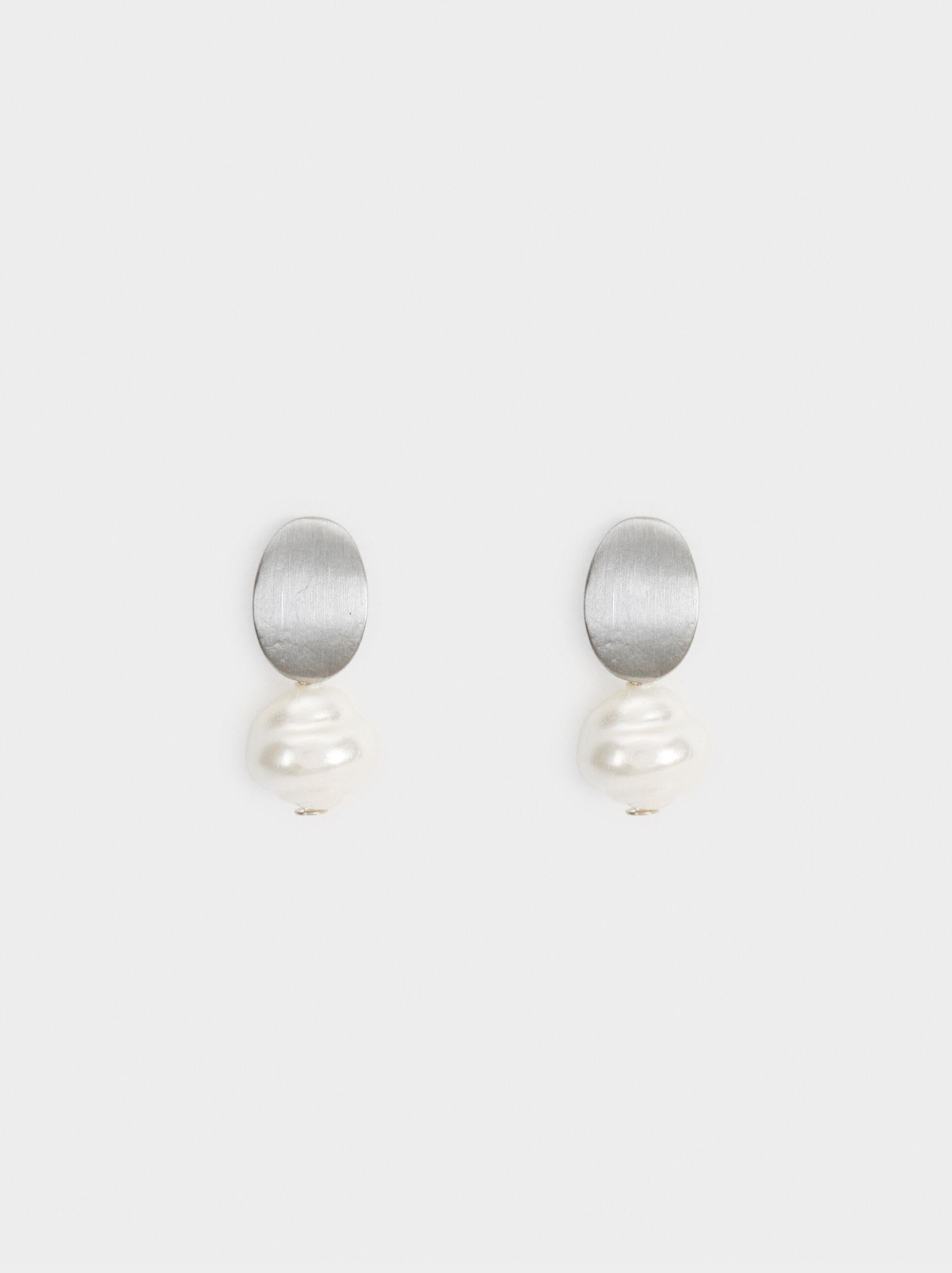 Boucles D'Oreilles Courtes Blog Perles, Beige, hi-res