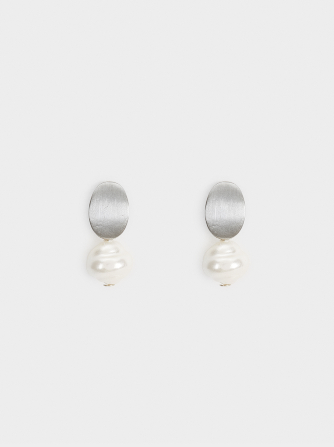 Short Pearl Blog Earrings, Beige, hi-res