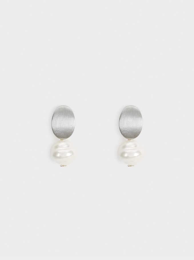 Short Pearl Blog Earrings, Beige, hi-res