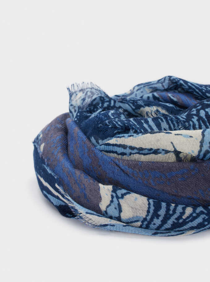 Multicoloured Print Scarf, Blue, hi-res