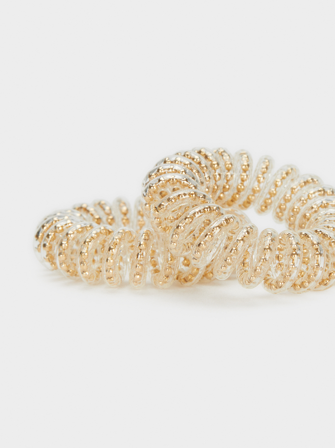 Set Of Hair Elastics, Golden, hi-res