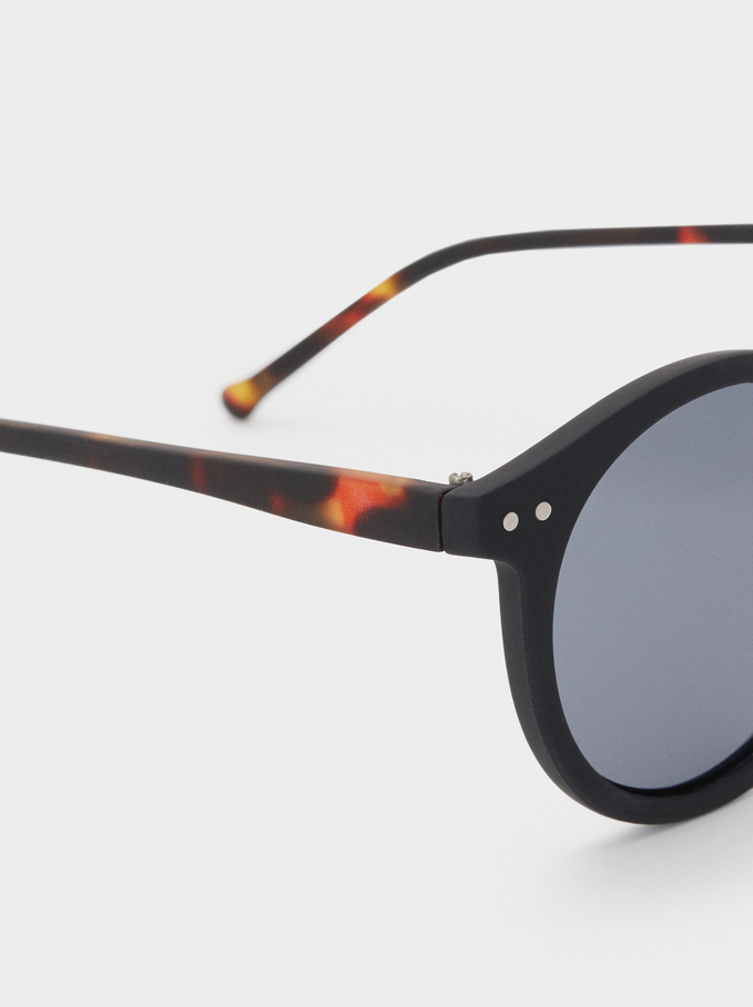Sunglasses With Round Frames, Black, hi-res