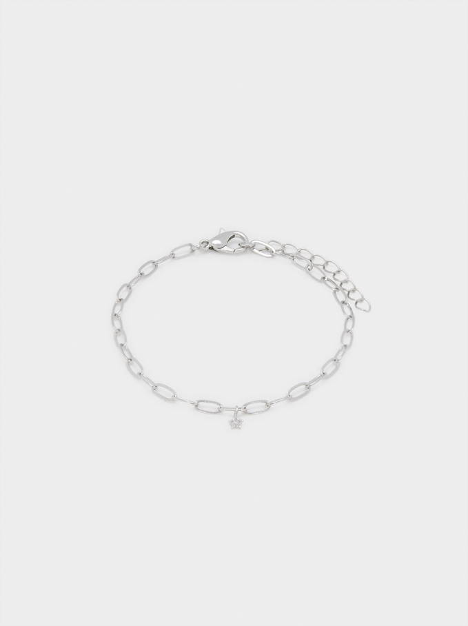 Link Bracelet With Star, Silver, hi-res
