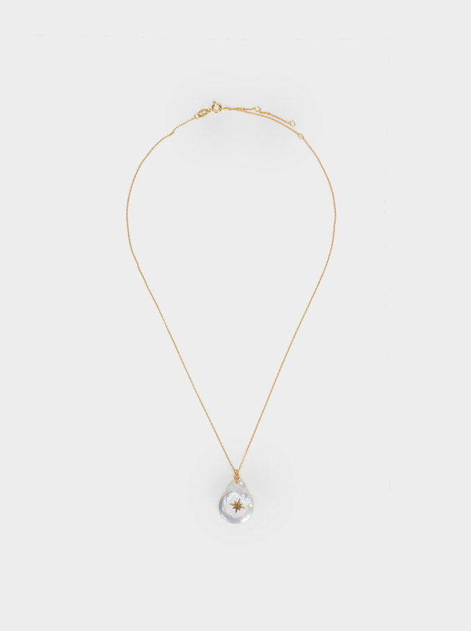 Short Silver 925 Necklace With Pendant, Beige, hi-res