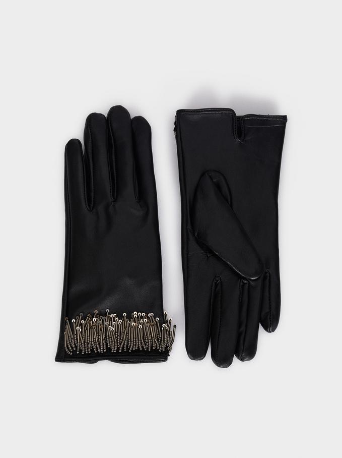Leather Gloves With Fringe Detail, Black, hi-res