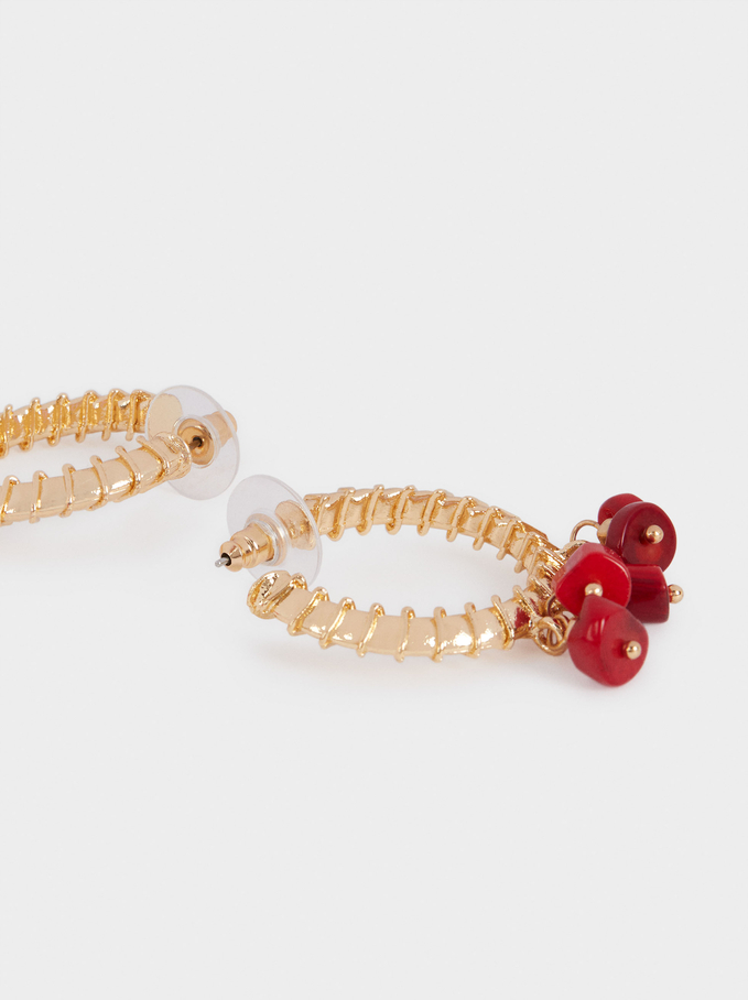 Set Of Large Hoop Earrings With Stone, Coral, hi-res
