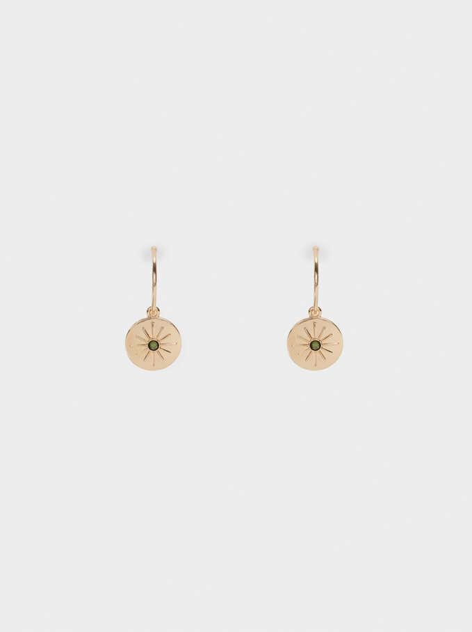 Hoop Earrings With Crystals, Golden, hi-res
