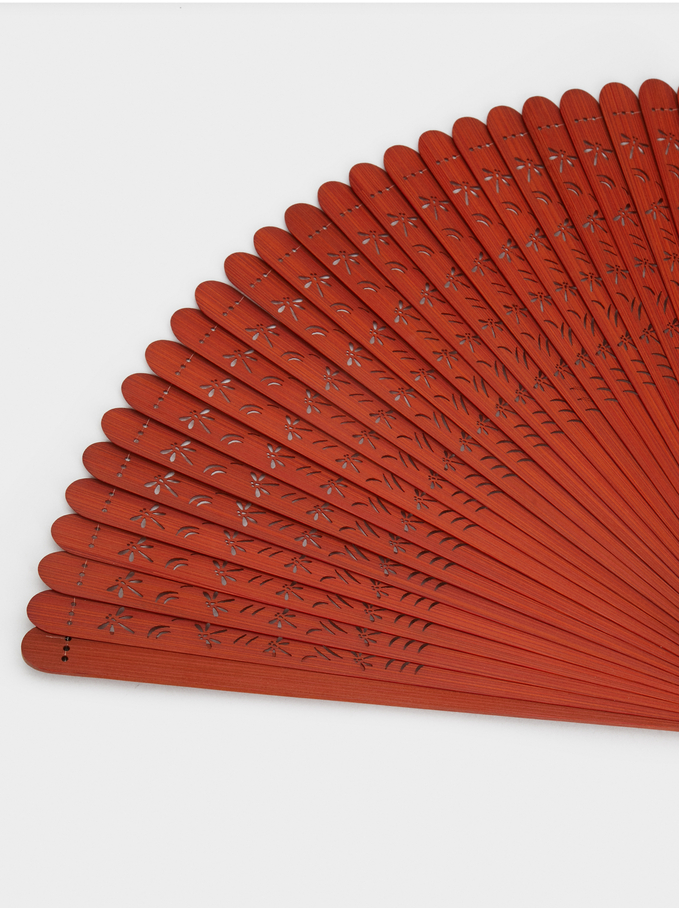 Faux Wood Fan, Orange, hi-res