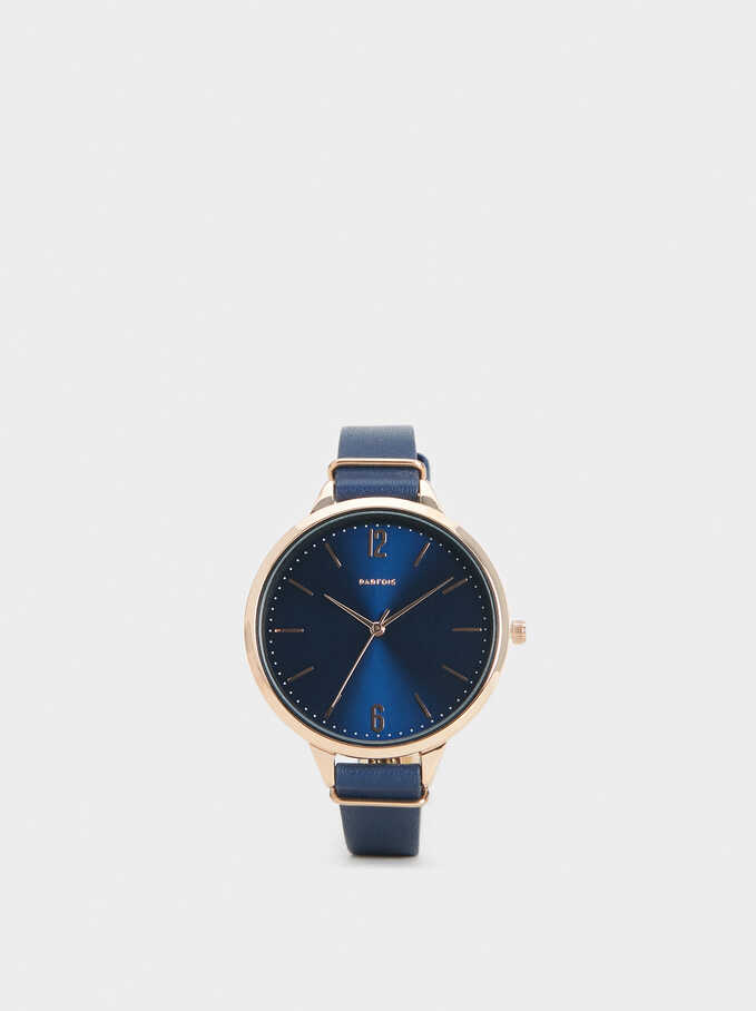 Watch With Faux Leather Wristband, Navy, hi-res