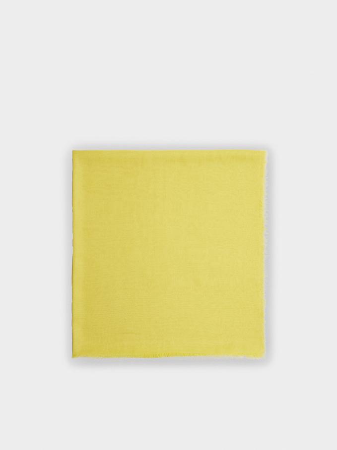 Plain Pashmina With Frayed Detailing, Yellow, hi-res