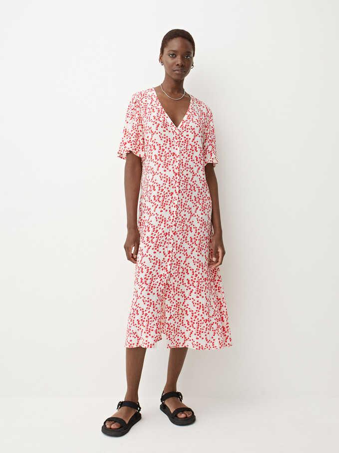 Long Printed Dress, Ecru, hi-res
