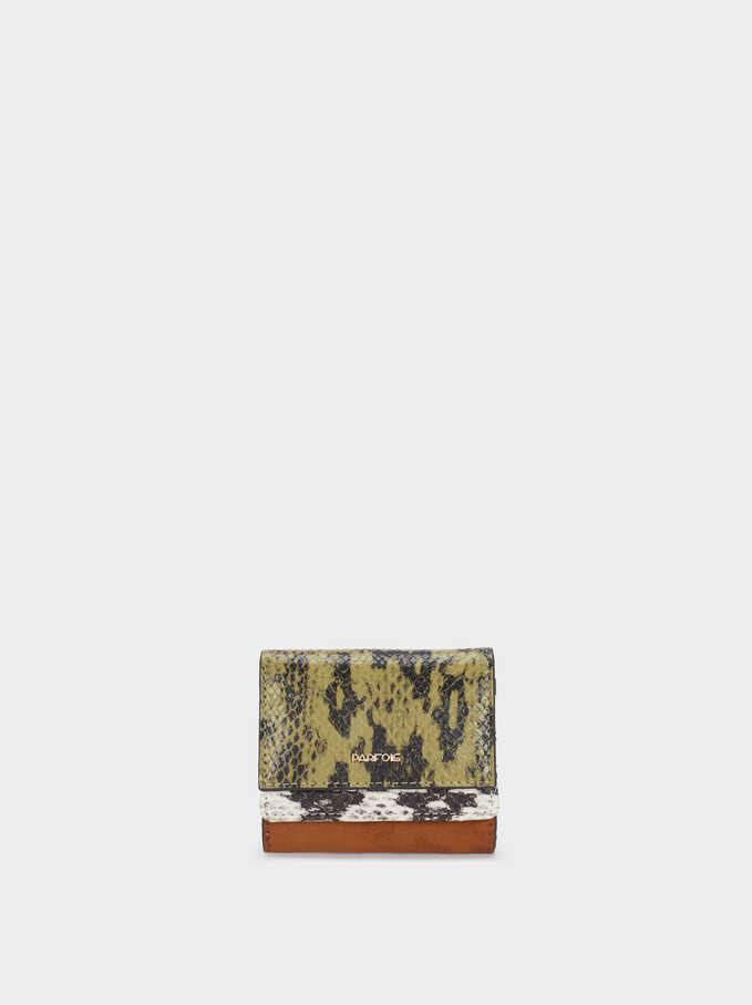 Animal Print Card Holder, Green, hi-res