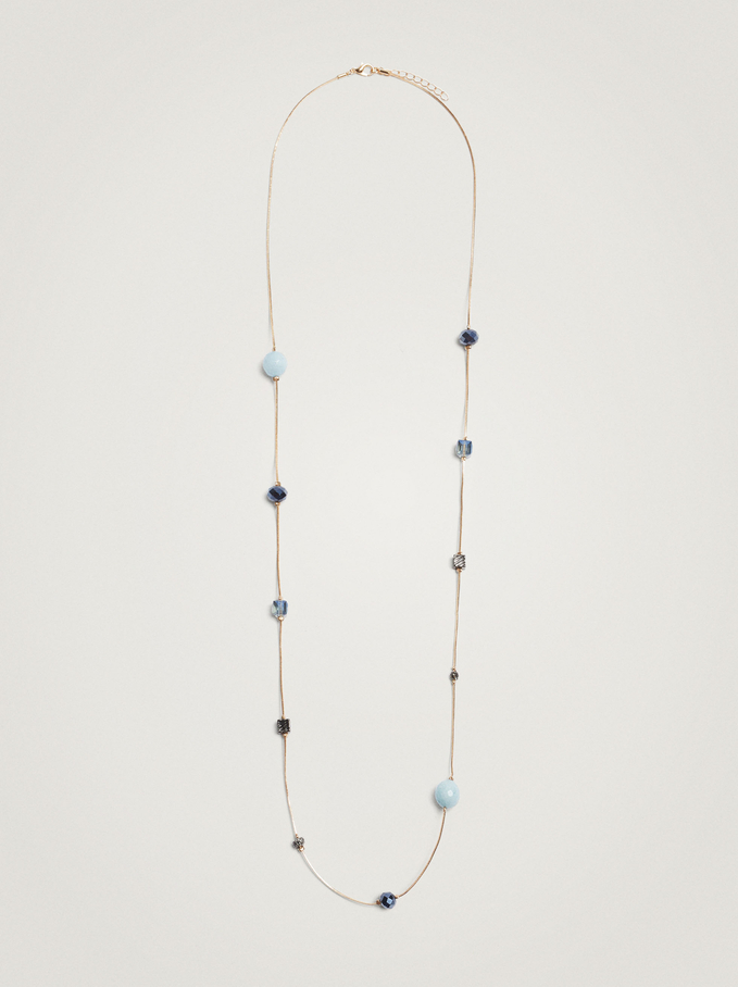 Long Necklace With Bead Detail, Blue, hi-res