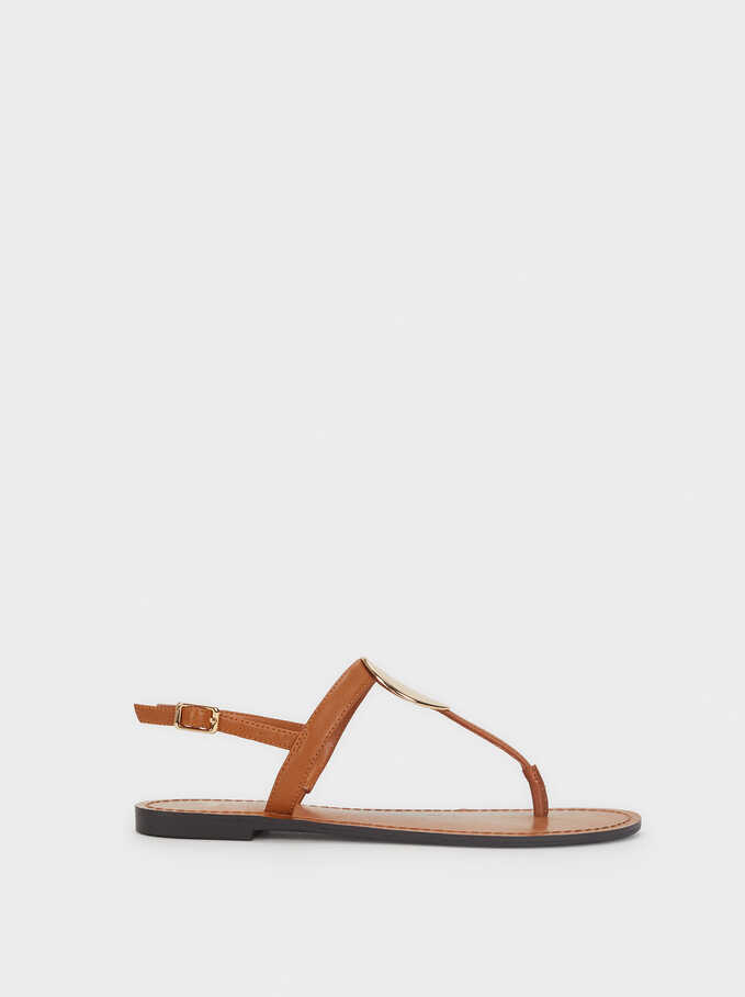 Limited Edition Flat Sandals With Metallic Detail, Camel, hi-res