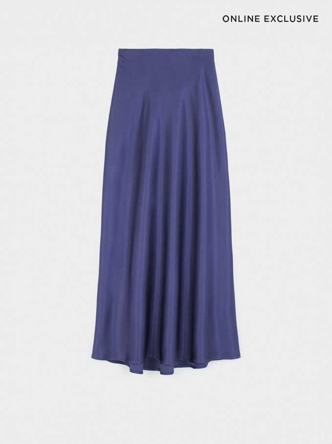 Limited Edition Long Skirt With Elastic Waistband, Blue, hi-res