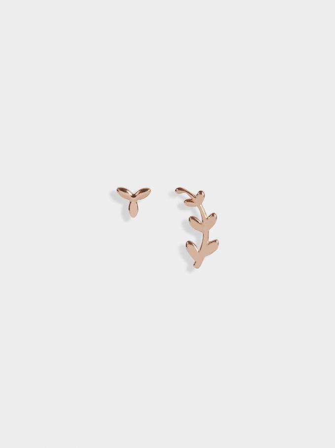Short Steel Earrings, Orange, hi-res