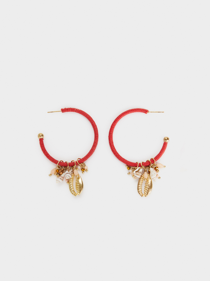 Heart Beads Large Hoop Earrings With Seashells, Multicolor, hi-res
