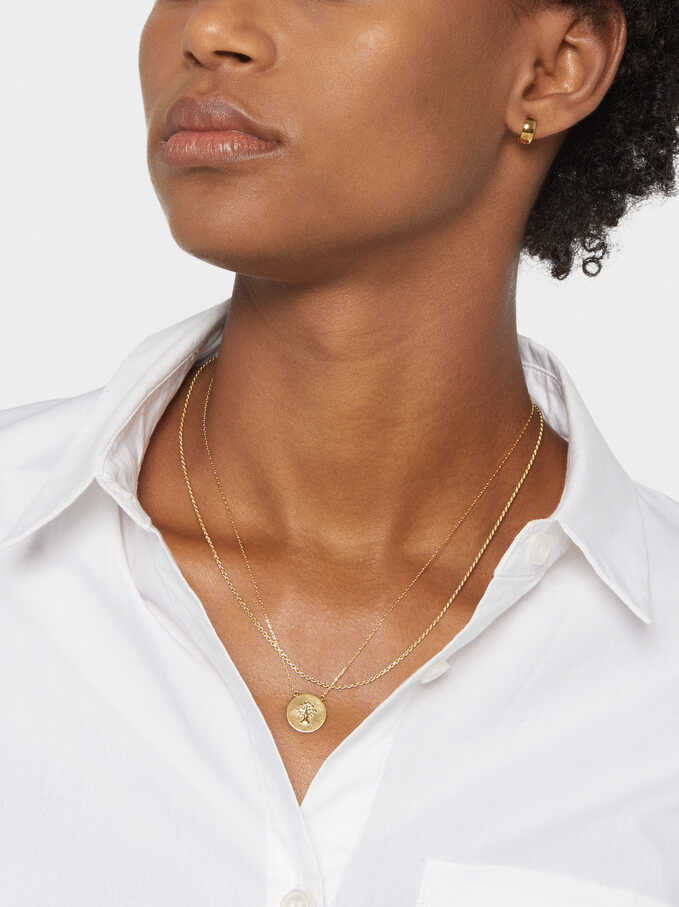 Collar Corto De Plata 925 Árbol, Dorado, hi-res