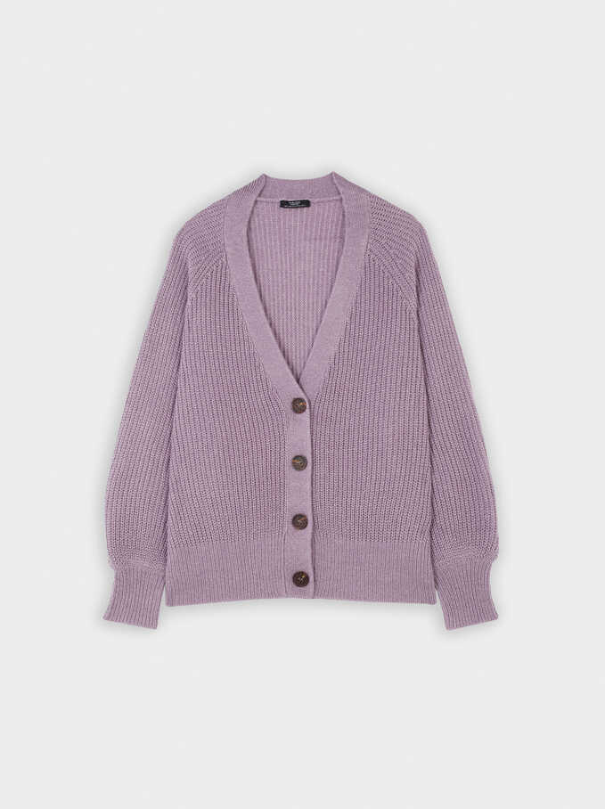 Knitted Cardigan, Violet, hi-res